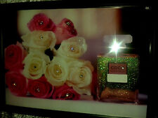 Iconic Perfume Bottle & Roses Glitter Canvas in a Black Frame A4 size