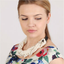 Luxury Crystal Multi Layer String Twist Collar Pearl Chunky Choker Necklace Gift