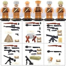6 Pcs Military Mini Figures NEW UK Seller Fits Lego WW2 Russian USSR Soviet Army