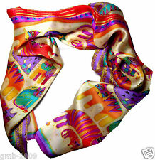 100% Silk Women's Cat Abstract Animals Pattern Soft Long Shawl Scarf Stole Wrap