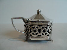 ENGLISH PIERCED DECORATED STERLING SILVER MUSTARD POT with COBALT LINER, c. 1911