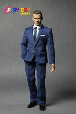 PLAY TOY Men's Stylish Blue Color Full Suit w/ Head Set 1/6 (NO BODY)