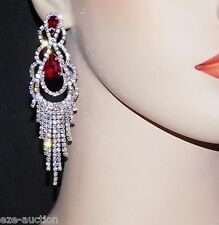 AWESOME RED / CLEAR RHINESTONE CRYSTAL CHANDELIER PARTY EARRINGS