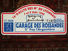 Plaque Rallye des MONTS du LYONNAIS 1998