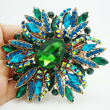 "HUGE 3.97"" RUNWAY GREEN BLUE FLOWER BROOCH SWAROVSKI CRYSTALS - NEW"