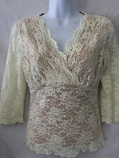 CAbi Crossover Lace Overlay Ivory White Stretchy Blouse Top # 427 Size Small