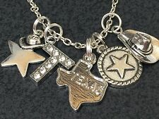"Western I Love Texas Star & Hat Charm Tibetan Silver 18"" Necklace BIN"