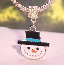 Snowman Face Christmas Holiday Dangle Bead fits Silver European Charm Bracelets