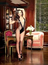 FISHNET & FAUX LEATHER MICROFIBER PLUNGING TEDDY WITH CHAIN DETAIL One Size