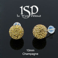 14k Gold 10mm Womens Swarovski Elements Champagne Crystal Ball Studs Earrings