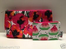 CLINIQUE Watermelon Floral Cosmetic Makeup Bag Zipper Pouch (1 Large+1 Small )