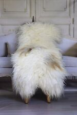 Genuine Natural Icelandic Sheepskin Rug, Pelt, Fur L Large White Brown