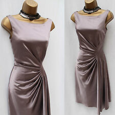 Karen Millen Taupe Satin Draped Fluid Fold Evening Party Cocktail Dress 12 UK