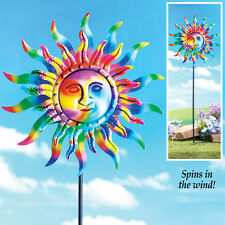 COLORFUL SUN WIND SPINNER GARDEN LAWN FLOWERBED STAKE DISPLAY OUTDOOR DECOR NEW