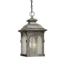 Lava Stone Exterior Hanging Light With Seeded Glass