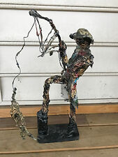 RARE Unique Wire Art Fisherman Holding Pole With Fish Figure Statue