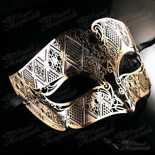 Mens Unisex Filigree Light Metal Venetian Masquerade Prom Ball Mask [Gold]