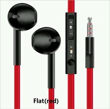 Black+Red flat cable Earphones / Hands free Remote Mic iPhones iPod Samsung HTC