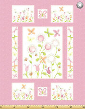 "Susybee's Sunflower Pink Quilt top 100% cotton 42"" X 35"" fabric by the Panel"