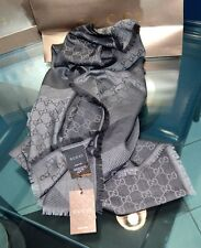 GUCCI  schal Autentica 140 x140 cm new original Silk & Wool stola Scarf darkgrey