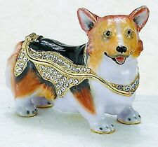 Bejeweled Enamel Trinket Jewelry Box, Top Opens w/ Magnet, Corgie Dog 3837