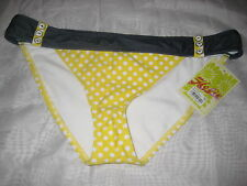 Hobie Swimsuit XL Womens New Hipster Bikini Bottoms Indigo Yellow Polka Dots