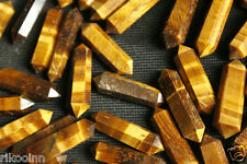 1Pcs 6 Sided Radiant TIGER EYE Crystal WAND Healing Massage Reiki Wicca Point