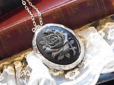 #JRB HALLOWEEN GREY GRAY GOTHIC ROSE STEAMPUNK  PHOTO Cameo Necklace Locket BOX