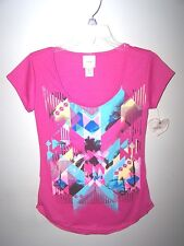SELF ESTEEM Bright Pink Graphic palm trees Shirt Top USA  NWT X-Small XS summer