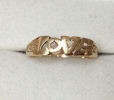 Vintage 14 K Yellow Gold Love Ring Size 6 with diamond accent