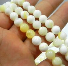6mm White gold Tridacna Gigas Stone Round Loose Beads 15""