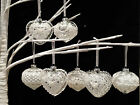 Vintage Victorian Style Glass & White Lace Christmas Baubles Bauble Heart