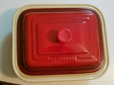 LE CREUSET CHERRY RED Cherise COVERED LARGE Rectangular CASSEROLE BAKING  DISH