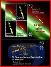 ANTIGUA 2008 = 50 YEARS OF space EXPLORATION / EXPLORER III S/S + M/S MNH **