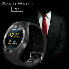 """1.22"""" Round Sceen Y1 Bluetooth Smart Watch Phone Mate For iphone Android Black"""