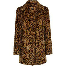 BNWT OASIS SIZE 10-12 FAUX FUR LEOPARD ANIMAL PRINT COAT WOMENS LADIES MEDIUM