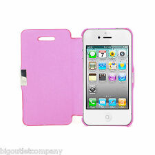 FUNDA ROSA LIBRO FLIP TAPA COVER CIERRE IMAN FOR iPHONE 4S 4G APPLE PINK CASE