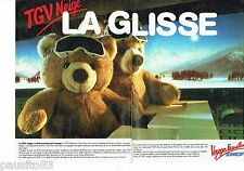 PUBLICITE ADVERTISING 126  1986   TGV neige  SNCF e train ( 2pages)