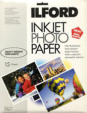 "15 Sheets Ilford Inkjet Photo Paper 8.5x11"" Semi-Matte Student Pack 1949603 NEW"