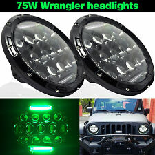 "7"" Round 75W Phillips Hi/Lo LED Headlight Kit Green DRL For Jeep Wrangler JK"
