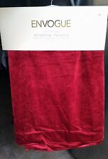 "NEW Envogue Red Velvet Window Curtain Panels 40"" x 84"" PAIR Modern"