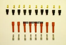 8 Cylinder 7 MM Orange Silicone Spark Plug Boot Kit Stainless & Brass Ends