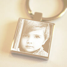 Personalised Keyring Silver Square Engraved Key Ring Photo Great Gift FREE Text