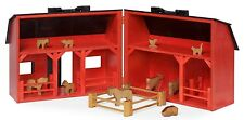 RED Wooden Toy Farm Barn Wood Play Animals Handcrafted Preschool Learning USA