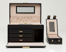 WOLF 280002 Heritage Large Jewelry Box With Travel Case Black NEW
