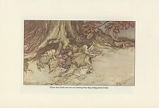 1975 Vintage PETER PAN FAIRIES SKIP ALONG PRETTY LIVELY RACKHAM Color Lithograph