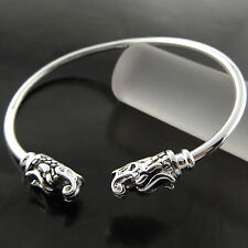 A690 GENUINE REAL 925 STERLING SILVER SF SOLID DRAGON STYLE CUFF BANGLE BRACELET