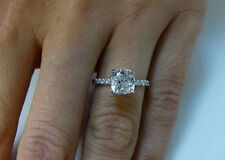 1.30 Ct. Natural Cushion Cut Pave Diamond Engagement Ring - GIA Certified