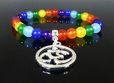 Chakra gemstone bracelet charm ohm aum symbol yoga positive energy