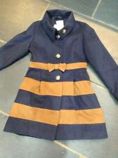 BNWT NEXT Navy & Tan Stripe Wool Look Coat 11-12 Yrs Rrp £36